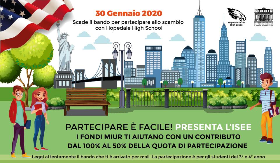 Invito a presentare candidatura studenti per partecipare allo scambio culturale con la Hopedale High school di Ho-pedale Massachusetts USA