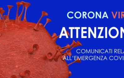 Tutte le comunicazioni relative all'emergenza Covid-19 (Coronavirus)