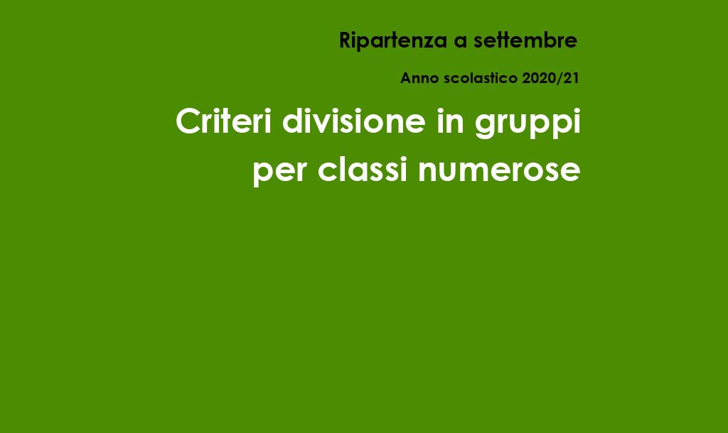 Criteri divisione in gruppi per classi numerose