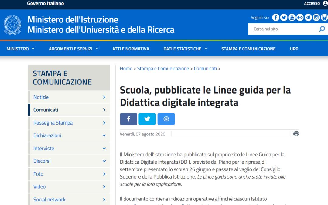 Scuola, pubblicate le Linee guida per la Didattica digitale integrata
