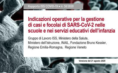 """Rapporto ISS Covid- 19 n. 58/2020 """" Indicazioni operative per la gestione dei Casi e focolai di SARS- CoV – 2 nelle scuole e nei servizi educativi dell'infanzia"""""""