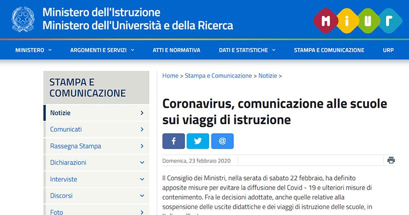 Coronavirus, comunicazione alle scuole sui viaggi di istruzione