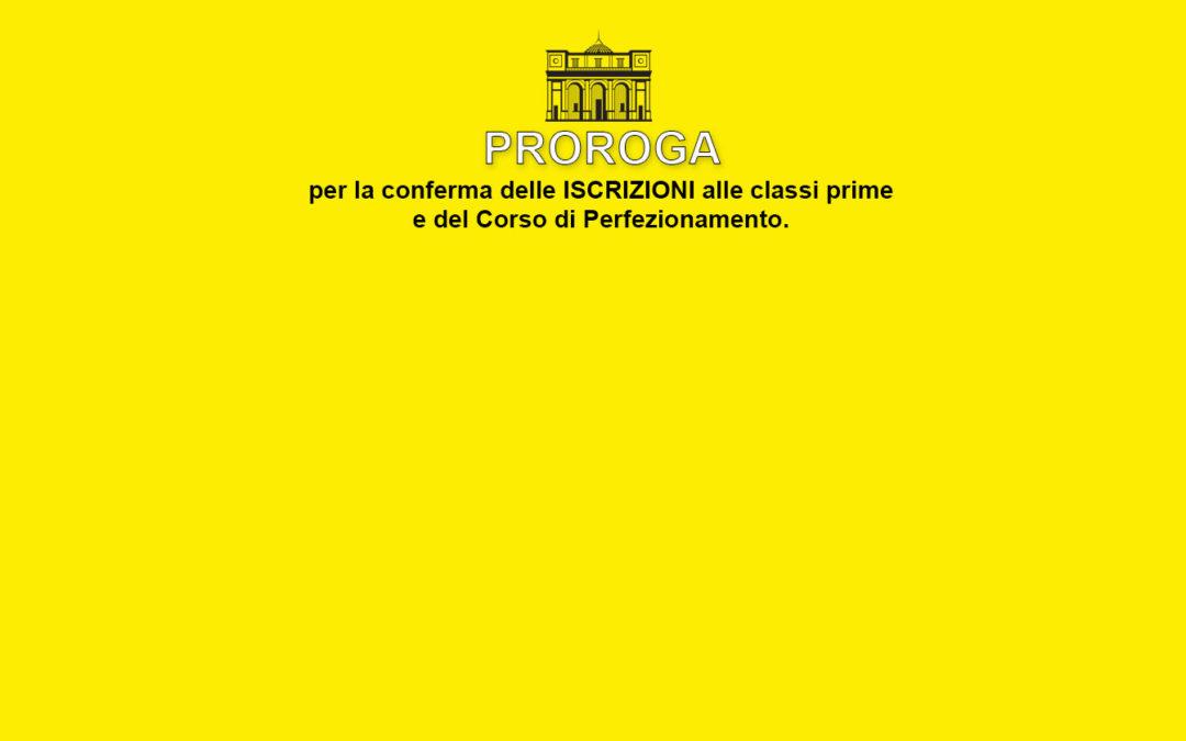 Proroga conferma iscrizioni classi prime e perfezionamento 2020/21